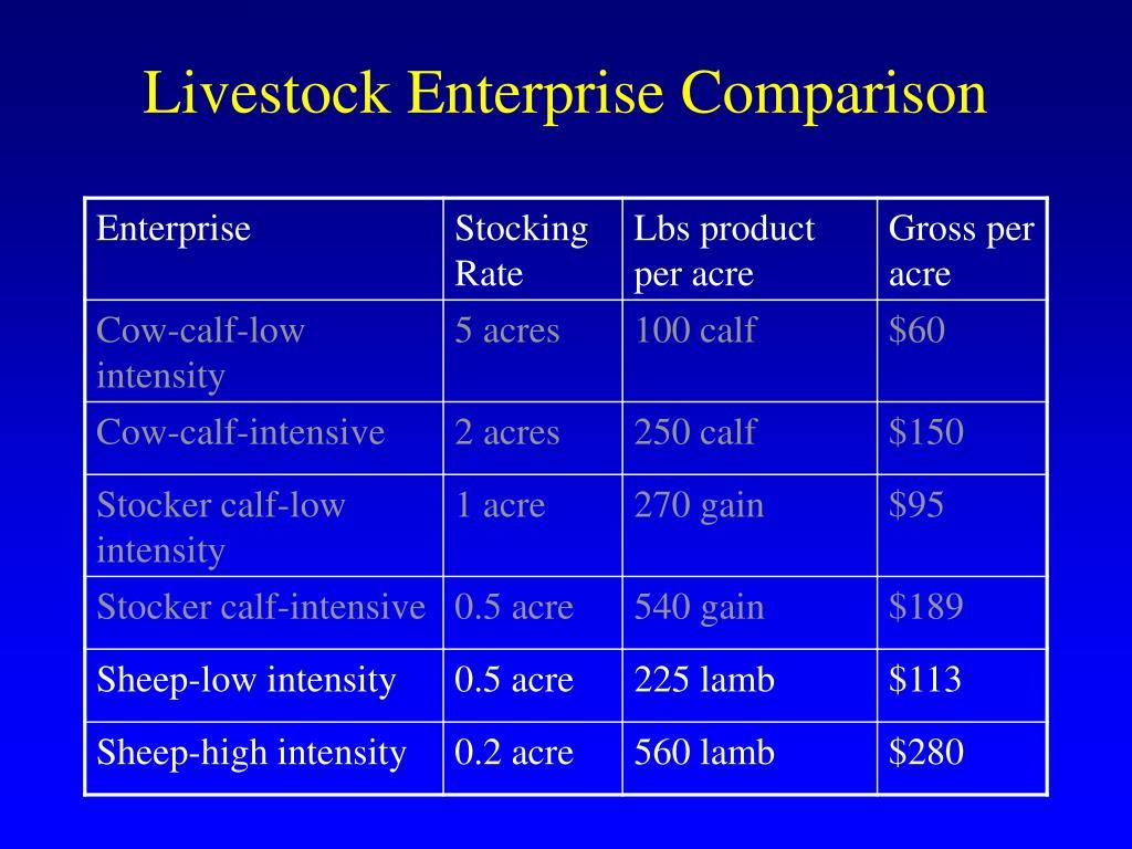 Livestock Enterprise Comparison