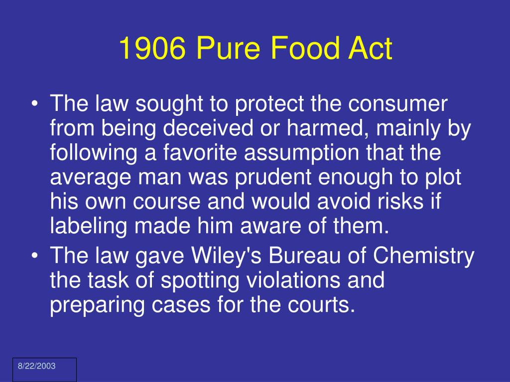 1906 Pure Food Act