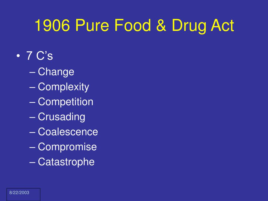 1906 Pure Food & Drug Act