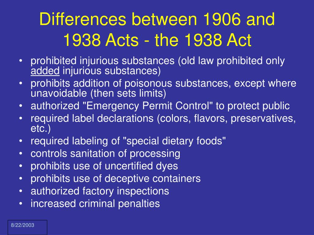Differences between 1906 and 1938 Acts - the 1938 Act