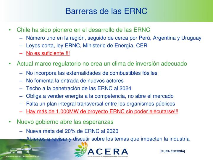 Barreras de las ERNC