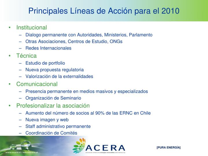 Principales Líneas de Acción para el 2010