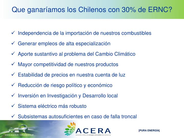 Que ganaríamos los Chilenos con 30% de ERNC?