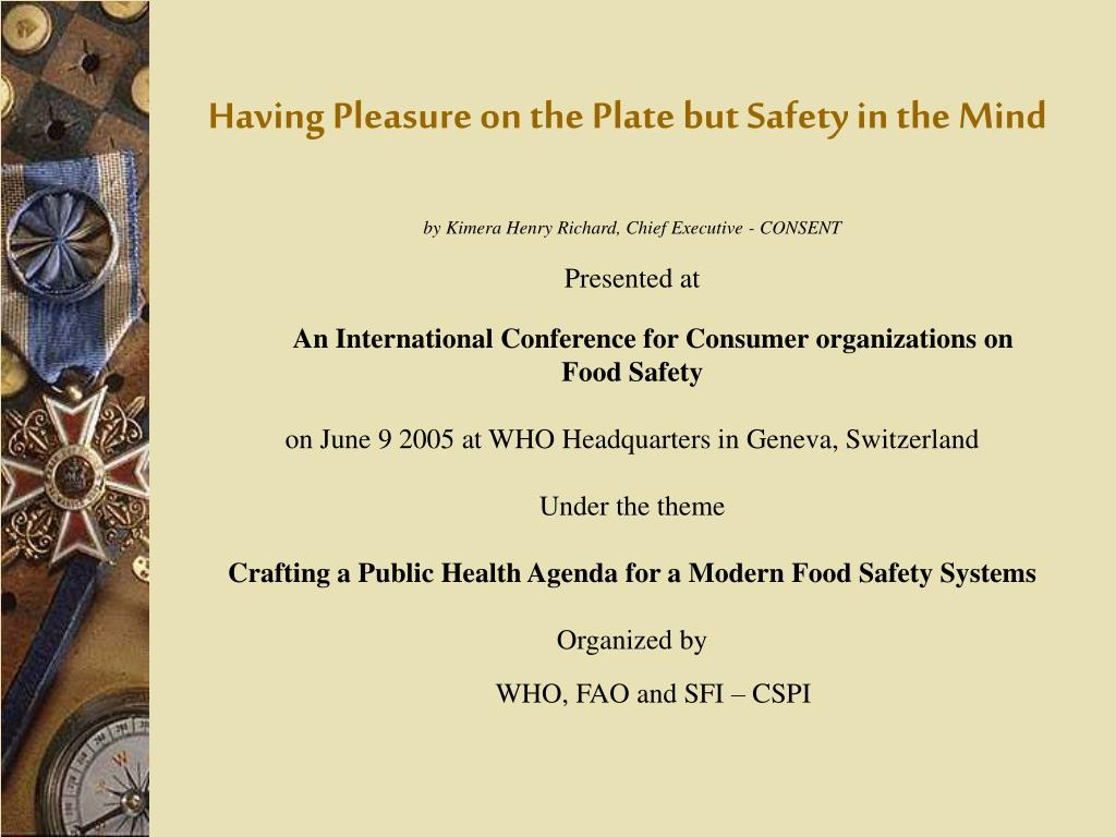Having Pleasure on the Plate but Safety in the Mind
