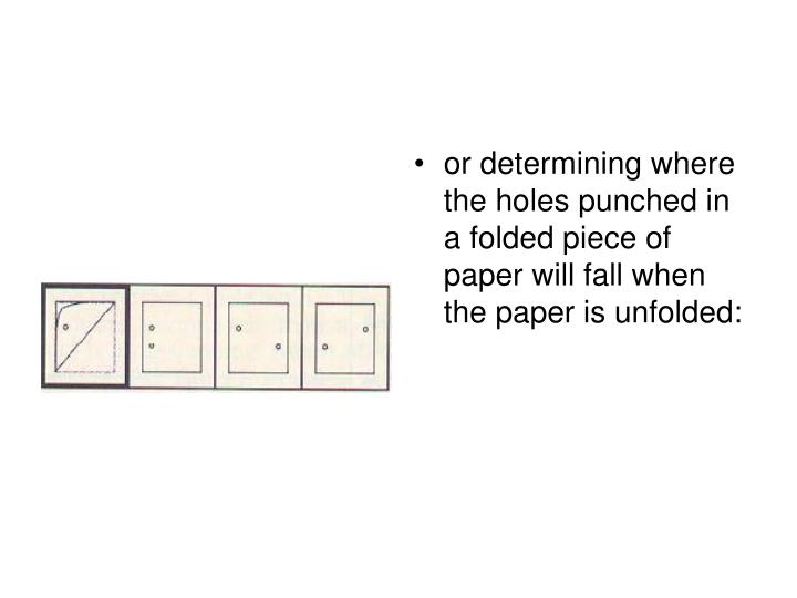 or determining where the holes punched in a folded piece of paper will fall when the paper is unfolded: