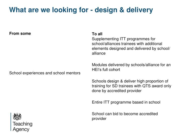 What are we looking for - design & delivery