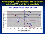 avoid single trait selection we select for both low fec and high productivity