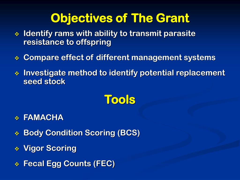 Objectives of The Grant