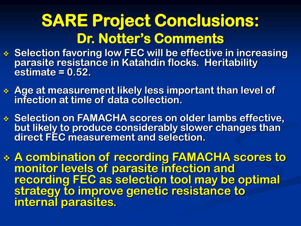 SARE Project Conclusions: