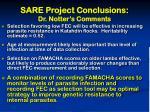 sare project conclusions dr notter s comments