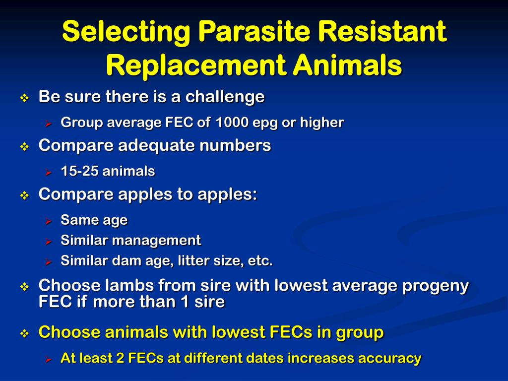 Selecting Parasite Resistant Replacement Animals