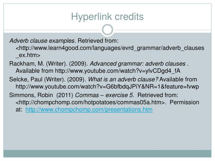 Hyperlink credits