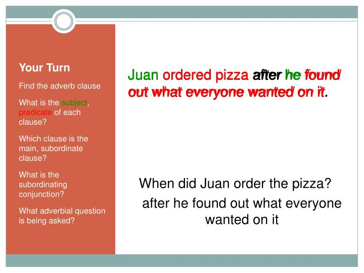 When did Juan order the pizza?