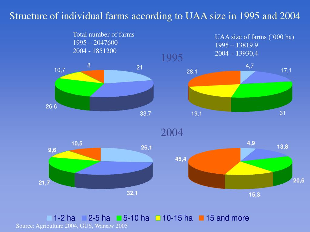 Structure of individual farms according to UAA size in 1995 and 2004