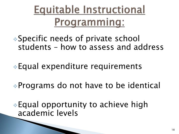 Equitable Instructional  Programming: