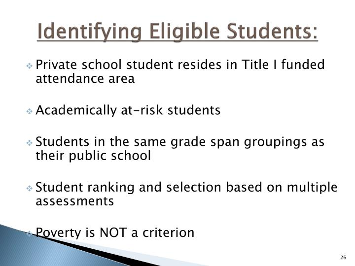 Identifying Eligible Students: