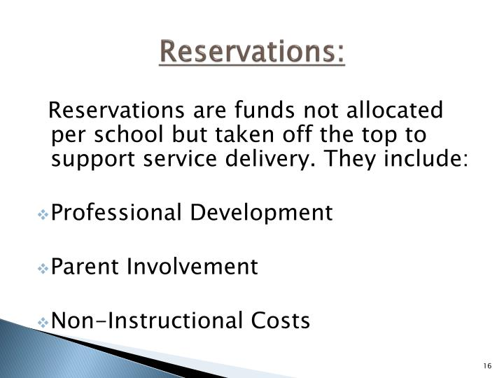 Reservations: