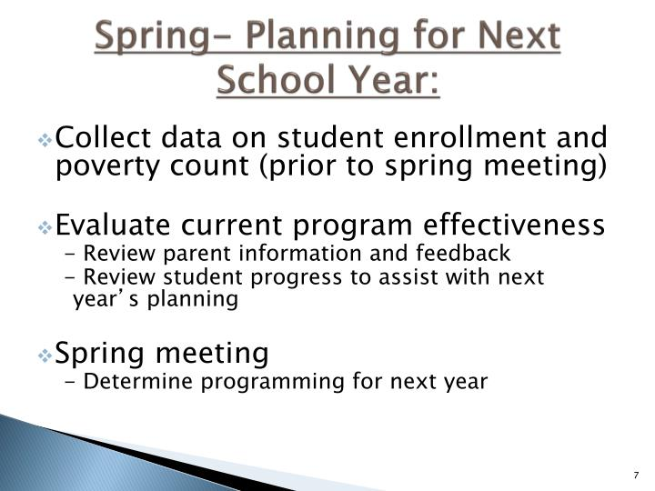 Spring- Planning for Next School Year: