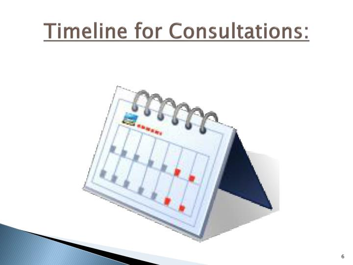 Timeline for Consultations: