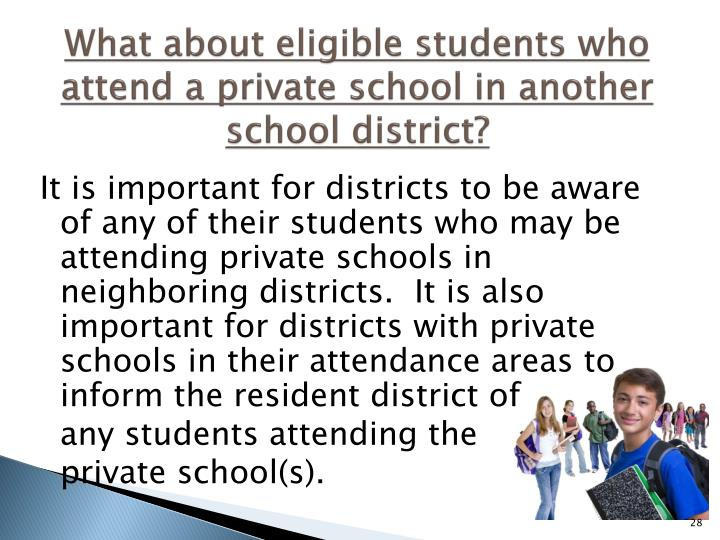 What about eligible students who attend a private school in another school district?