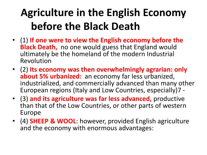 Agriculture in the english economy before the black death