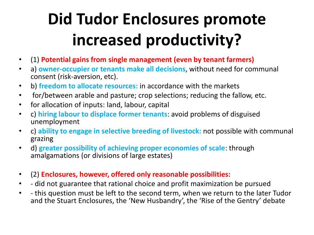 Did Tudor Enclosures promote increased productivity?
