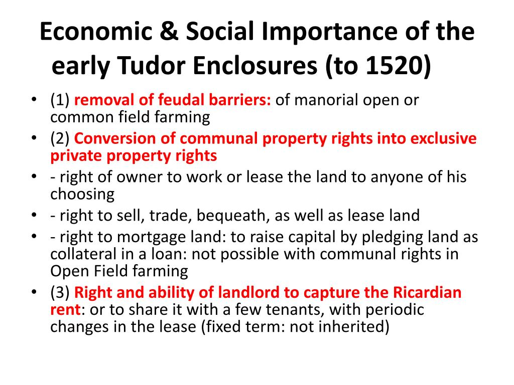 Economic & Social Importance of the early Tudor Enclosures (to 1520)