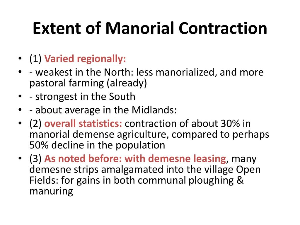 Extent of Manorial Contraction