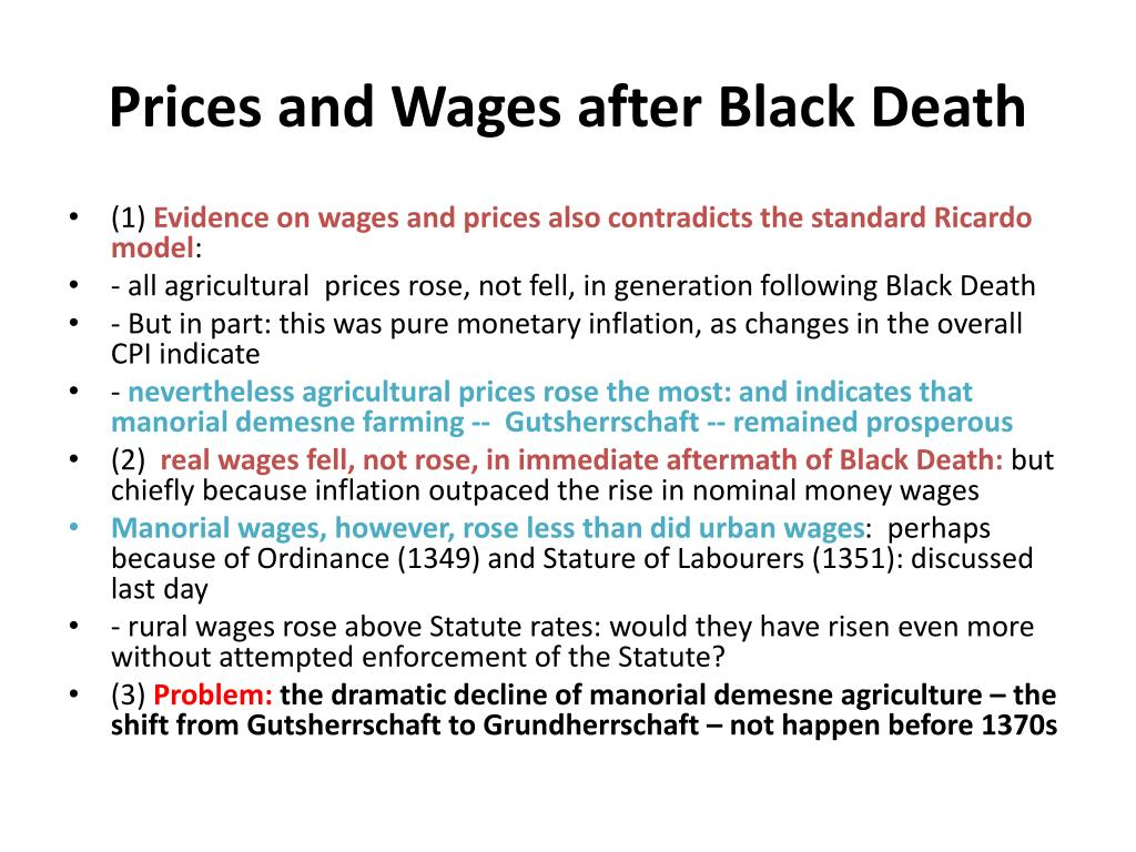 Prices and Wages after Black Death