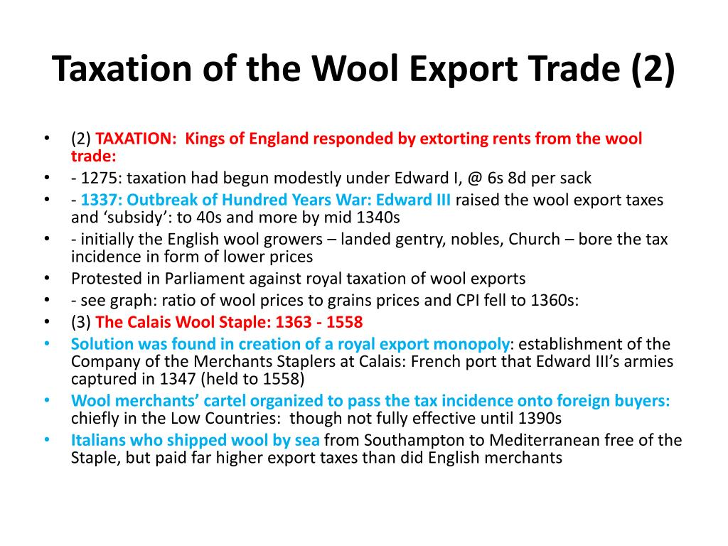 Taxation of the Wool Export Trade (2)