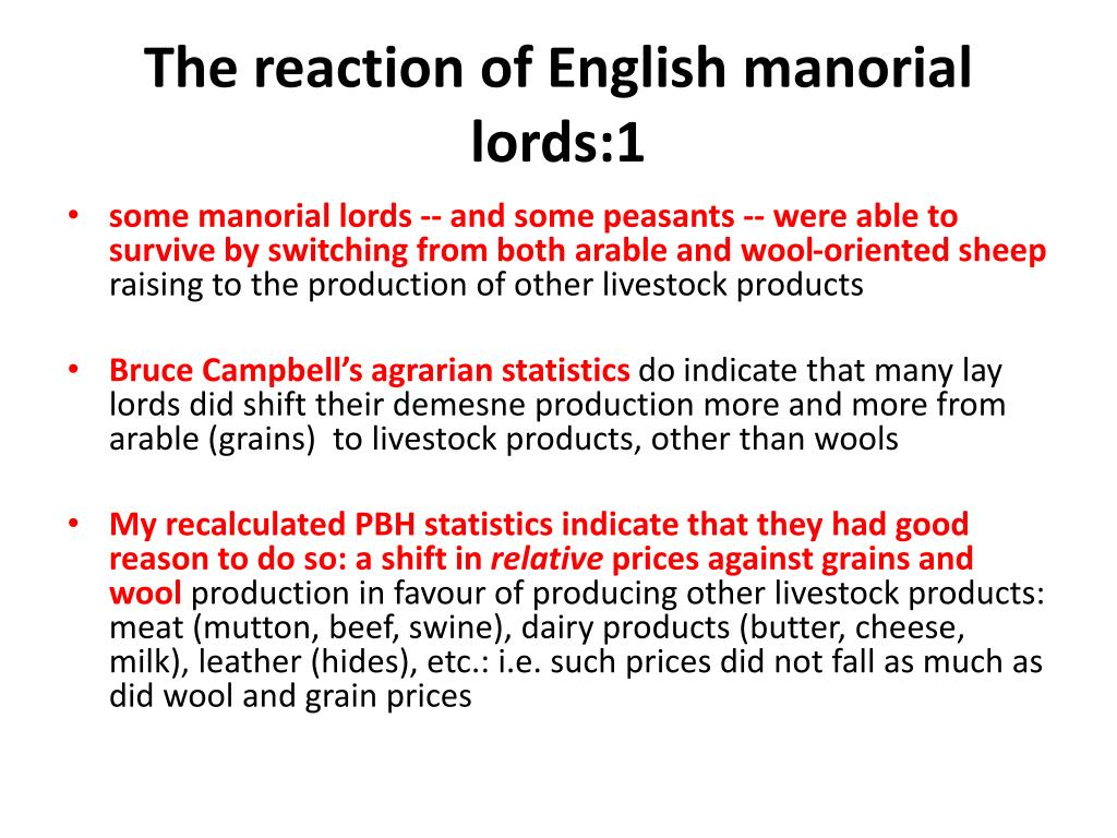 The reaction of English manorial lords:1