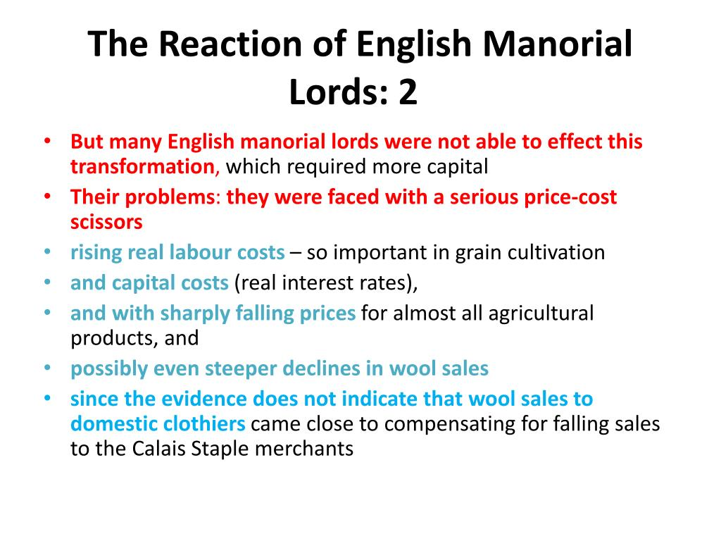 The Reaction of English Manorial Lords: 2