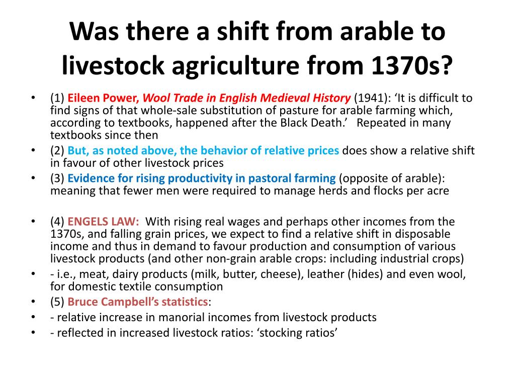 Was there a shift from arable to livestock agriculture from 1370s?