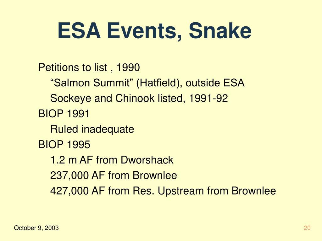 ESA Events, Snake