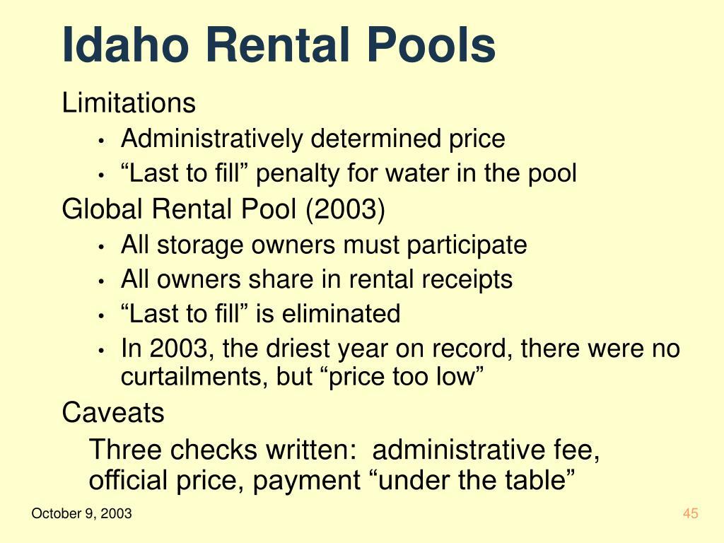Idaho Rental Pools