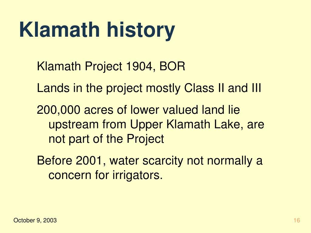 Klamath history