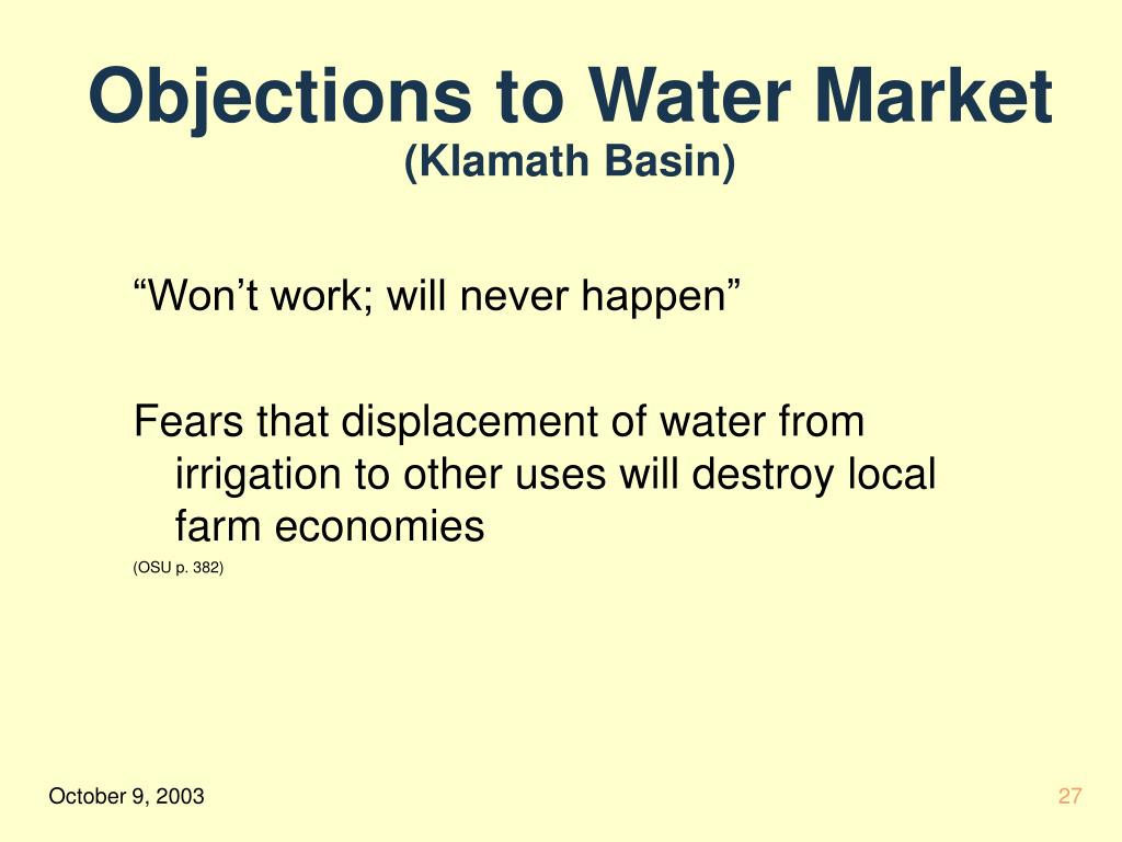 Objections to Water Market