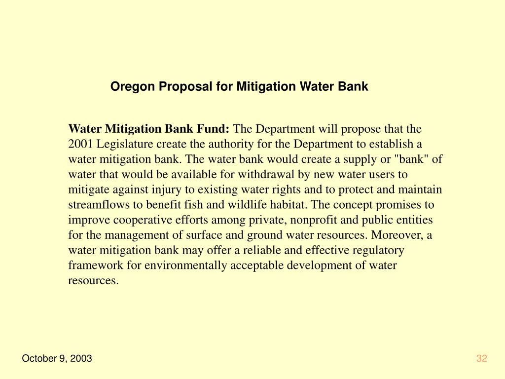 Oregon Proposal for Mitigation Water Bank