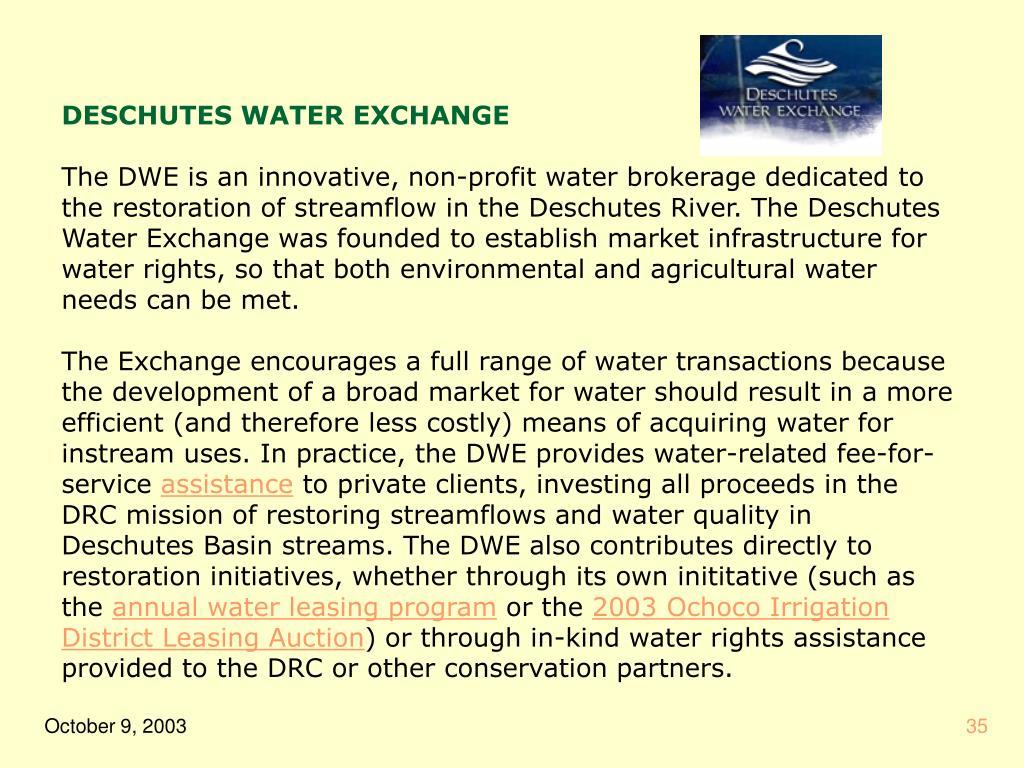 DESCHUTES WATER EXCHANGE