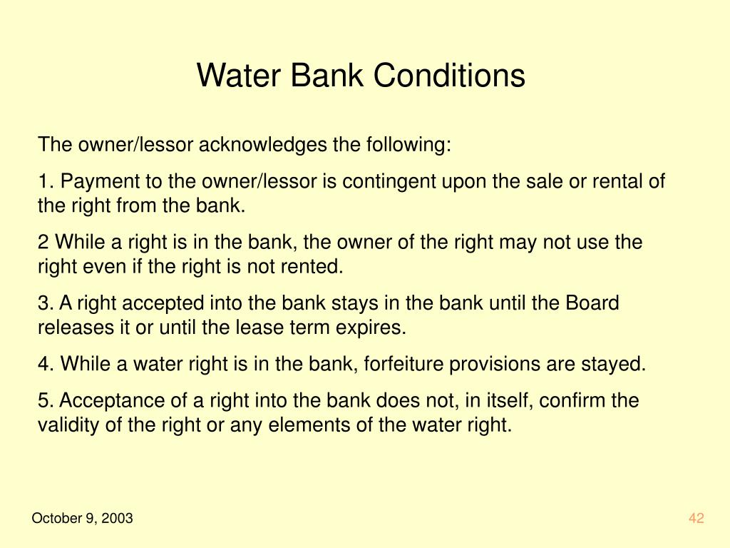 Water Bank Conditions