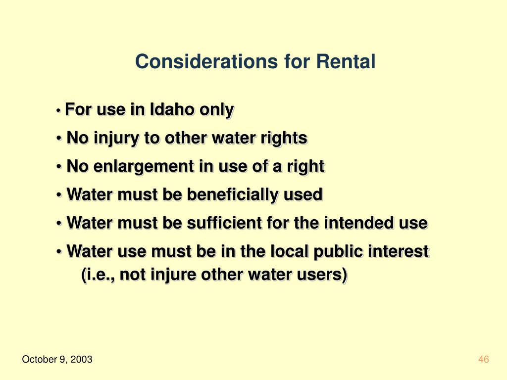 Considerations for Rental
