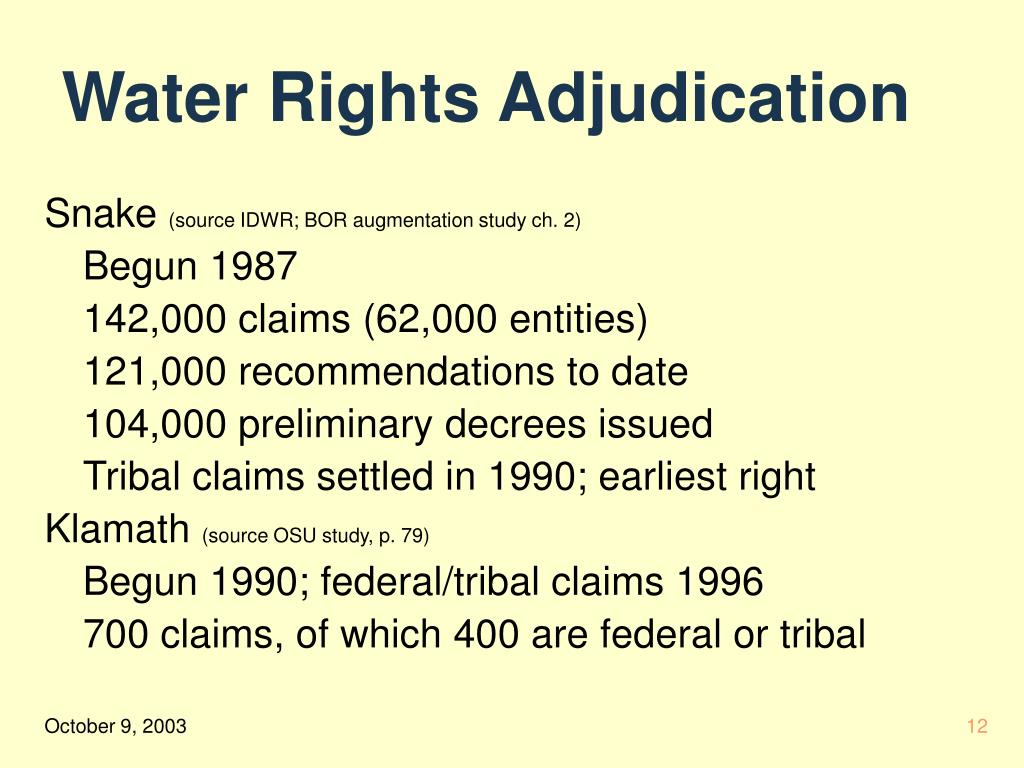 Water Rights Adjudication