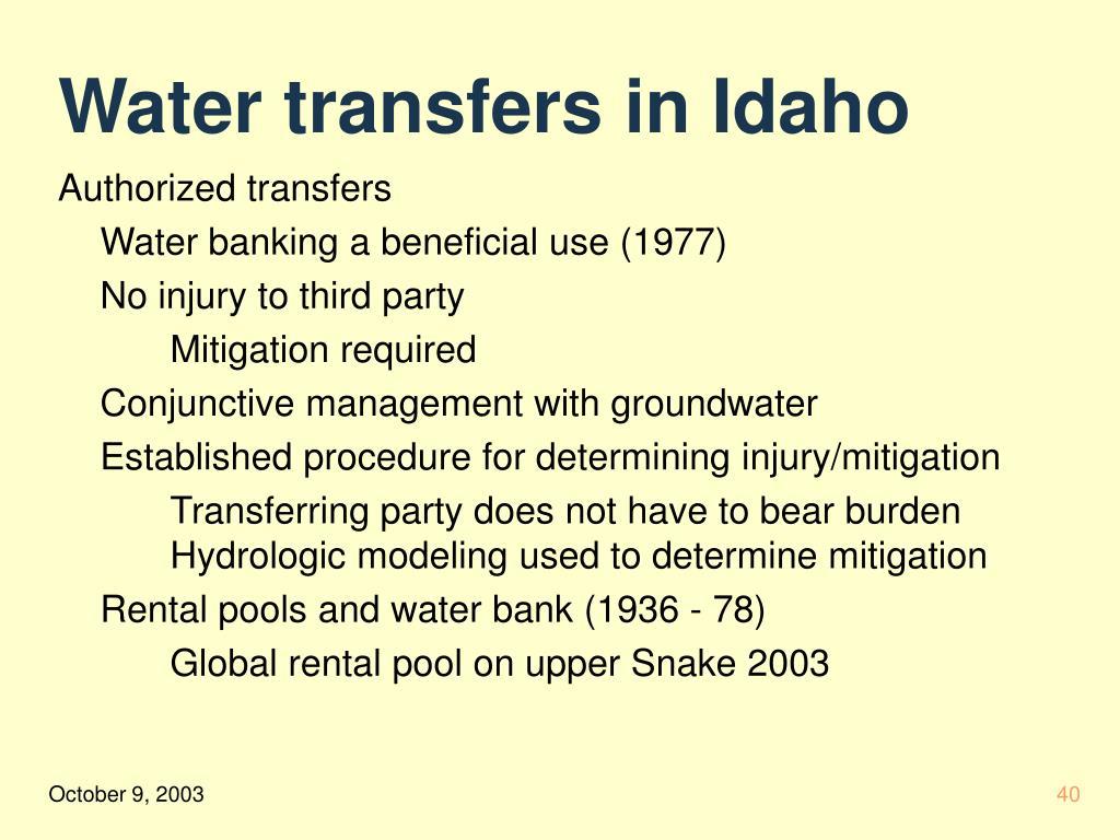 Water transfers in Idaho
