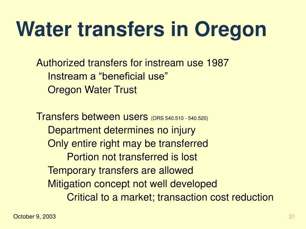 Water transfers in Oregon
