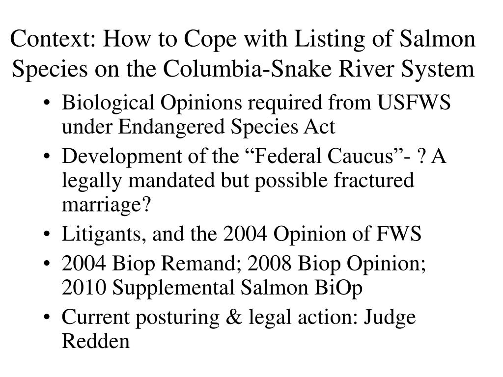 Context: How to Cope with Listing of Salmon Species on the Columbia-Snake River System