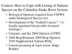 context how to cope with listing of salmon species on the columbia snake river system