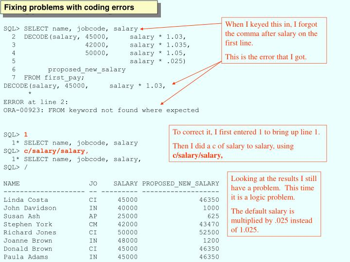 Fixing problems with coding errors