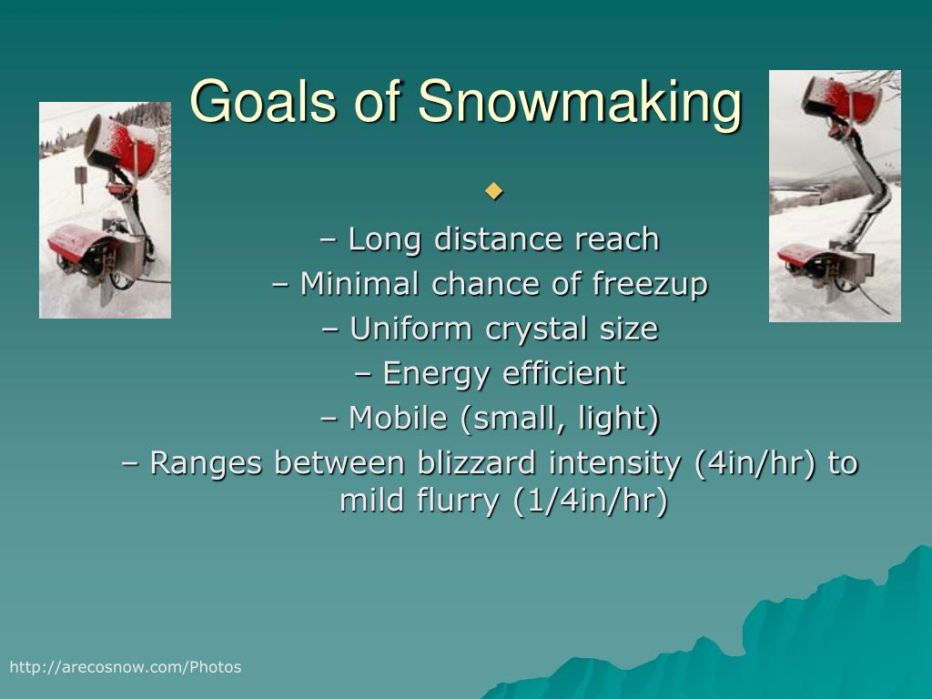 Goals of Snowmaking