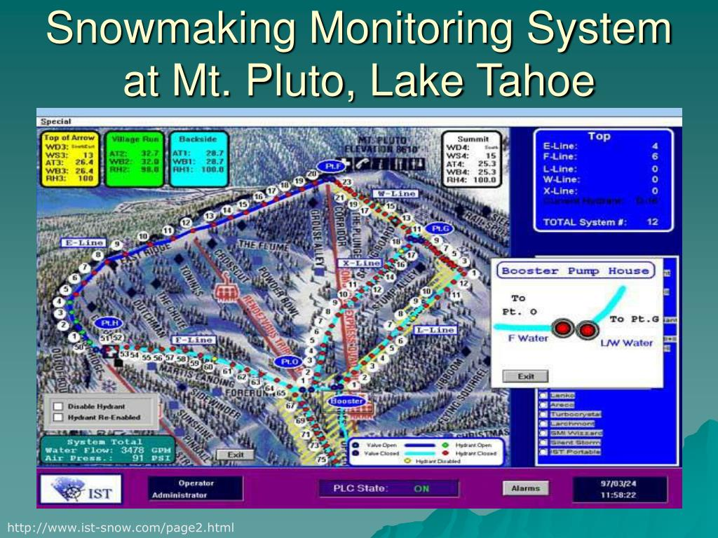 Snowmaking Monitoring System at Mt. Pluto, Lake Tahoe