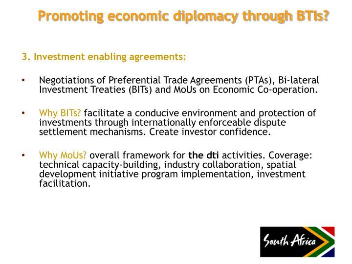 Promoting economic diplomacy through BTIs?